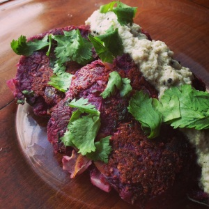 Beni Imo Sweet Potato Cakes with Coconut Chutney