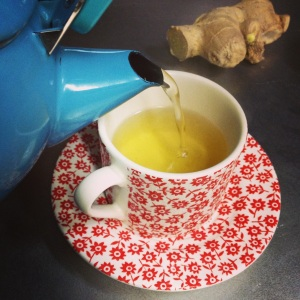 ginger tea pouring