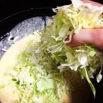 okonomiyaki batter and cabbage