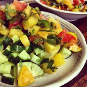 ground cherry salsa with avocado and cucumber